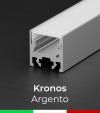 """Profilo in Alluminio Piatto """"Kronos"""" per Strisce LED - Anodizzato Argento"""