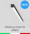 """Profilo Piatto in Alluminio """"Ares"""" per Strisce LED - Anodizzato Nero"""