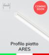 """Profilo Piatto in Alluminio """"Ares"""" per Strisce LED - Acciaio Lucido"""
