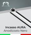 """Profilo in Alluminio da Incasso """"Aura"""" per Strisce LED - Anodizzato Nero"""