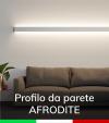 """Profilo in Alluminio da Parete """"Afrodite"""" per Strisce LED - Anodizzato Argento"""