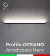 """Profilo da Parete con luce a 45° """"Oceano"""" per Strisce LED  - Anodizzato Nero"""