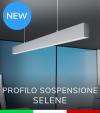 """Profilo in Alluminio da Sospensione """"Selene"""" per Strisce LED - Anodizzato Argento"""