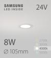Faretto da Incasso Rotondo Slim 8W BIANCO NATURALE - Downlight - LED Samsung