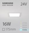 Faretto da Incasso Quadrato Slim 16W BIANCO FREDDO - Downlight - LED Samsung