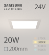 Faretto da Incasso Quadrato Slim 20W BIANCO CALDO - Downlight - LED Samsung