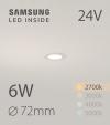 Faretto da Incasso Rotondo Slim 6W LUCE CALDA - Downlight - LED Samsung