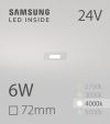 Faretto da Incasso Quadrato Slim 6W BIANCO NATURALE - Downlight - LED Samsung