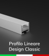 Profilo in Alluminio Piatto Design Classic per Strisce LED - Ossidato ARGENTO