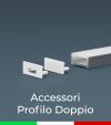 Accessori per Profilo in Alluminio Doppio con Copertura Piatta - Tappi e Biadesivo