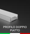 Profilo in Alluminio Piatto Doppio per Strisce LED - Copertura PIATTA - Ossidato ARGENTO