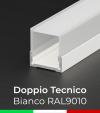 Profilo in Alluminio Piatto Doppio Strisce LED - Copertura TECNICA - Verniciato BIANCO RAL9010