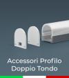 Accessori per Profilo in Alluminio Doppio con Copertura Tonda - Tappi e Biadesivo