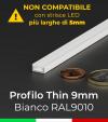 """Profilo in Alluminio """"THIN"""" per Strisce LED - Verniciato BIANCO RAL9010"""