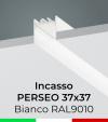 """Profilo in Alluminio da Incasso """"Perseo"""" 37x37mm per Strisce LED - Verniciato Bianco RAL9010"""