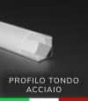 Profilo in alluminio angolare 45° Design Tondo per Strisce LED - ACCIAIO Lucido