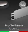 """Profilo in Alluminio """"Parete"""" per Strisce LED - Anodizzato Argento"""