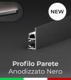 """Profilo in Alluminio """"Parete"""" per Strisce LED - Anodizzato Nero"""