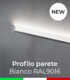 """Profilo in Alluminio """"Parete"""" per Strisce LED - Verniciato Bianco RAL9016"""