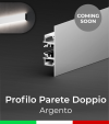 """Profilo in Alluminio """"Parete Doppio"""" per Strisce LED - Anodizzato Argento"""