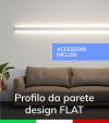 """Profilo in Alluminio Da Parete """"Flat"""" per Strisce LED - Ossidato ARGENTO - KIT di montaggio e tappi compresi nel prezzo"""